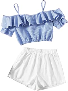 Romwe Girl's 2 Piece Outfit Cold Shoulder Ruffle Short Sleeve Crop Top and Shorts Set