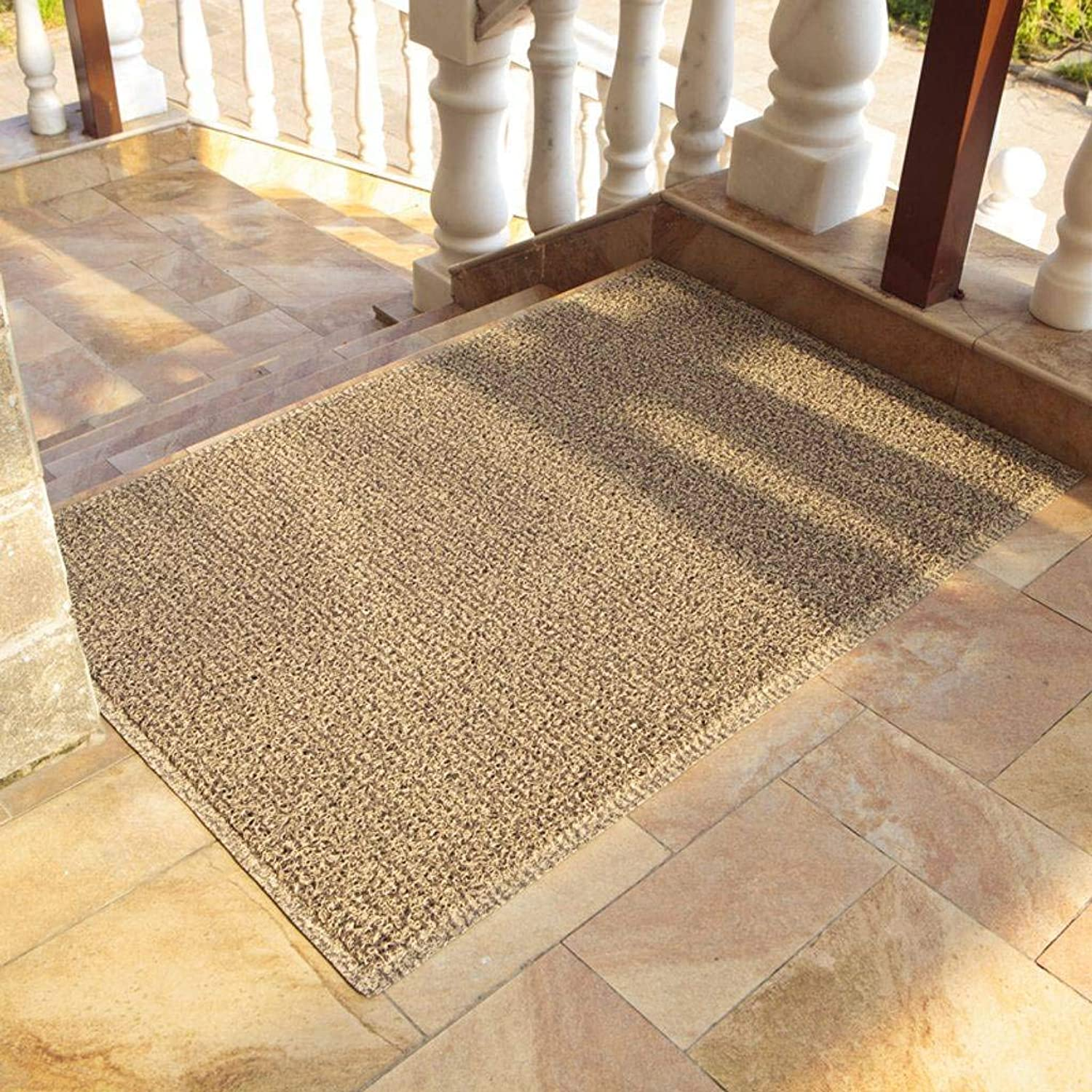 Premium Doormat, Indoor Outdoor PVC Backing Non-Slip Durable Washable Dust Pad Suitable for Front and Rear Doors, Kitchens, Hallways, Patios and Garages-Cream color-60x120Cm(24x47Inch)
