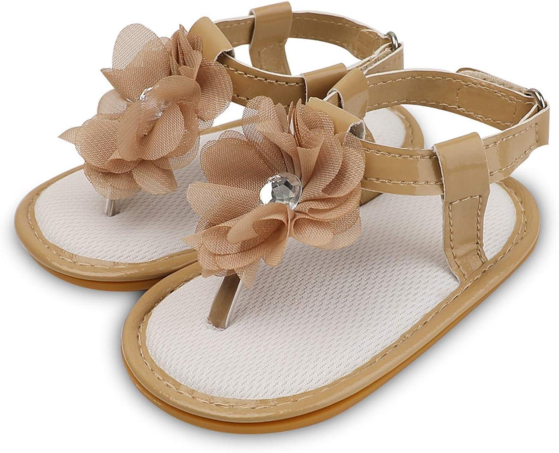Infant Baby Girls Boys Sandals Rubber Soft Sole T-Strap Toddler First Walker Crib Summer Beach Shoes Khaki 12CM