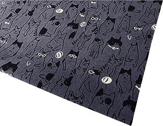 猫柄 モダンネコ 生地 布 綿麻 キャンバス コットンリネン 綿80% 麻20% 商用利用可 ねこ 黒猫(【2】スチールグレイ 生地幅110cm×50cm)