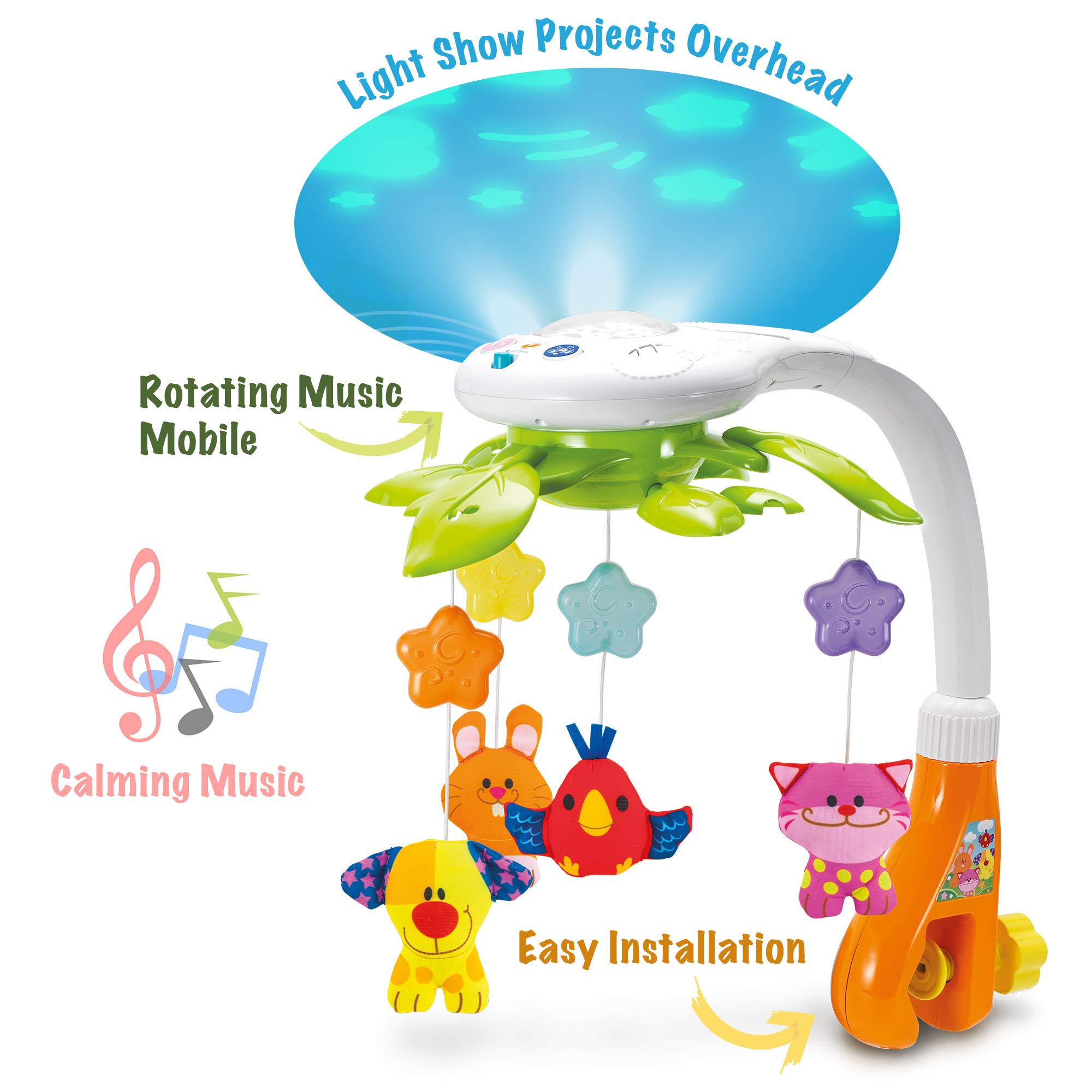 KiddoLab Baby Crib Mobile with Lights and Relaxing Music. Includes Ceiling Light Projector with Stars, Animals. Musical Crib Mobile with Timer. Nursery Toys for Babies Ages 0 and Older