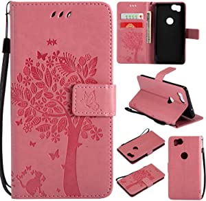 Google Pixel Case  SUMIXON Wallet Book  Stand View  Card Case Cover Magnetic Closure Full Protection Premium Leather Folio Case for Google Pixel 2-Pink