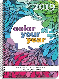 2019 Adult Coloring Book Daily Planner - Calendar, Spiral Bound, Designer Planning Organizer 5.5 x 8.5 Inches. Gift Sister, Mother, Busy Grown Up