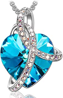 KKX Valentines Gifts for Women 'Love Heart' Necklace Pendant with Swarovski Crystals, Jewelry for Women, Gifts for Mom (Blue)