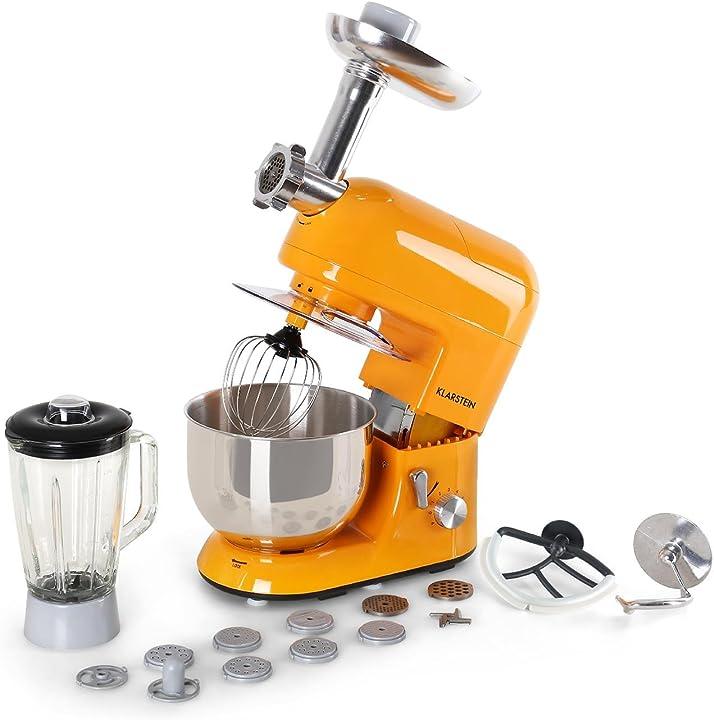 Robot da cucina, mixer, impastatrice, 1200 w, 5 l, sistema planetario, tritacarne, ganci per pasta klarstein 4260440452333