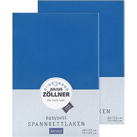 Julius Zöllner 8380313300 - Lenzuolo con angoli elasticizzati in jersey, 60 x 120 cm, 70 x 140 cm, colore: Blu