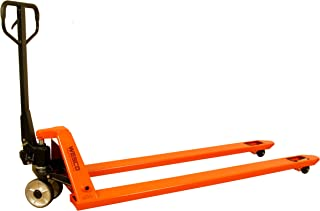 Wesco 273519 Specialty Long Fork Pallet Truck with Handle, Polyurethane Wheels, 4400 lbs Load Capacity, 49