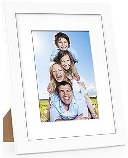 Betus エレガント ウッド フォト フレーム マット または 20x25cm マットなし付き - 芸術、絵画、写真用ディスプレイ フレーム - 壁面取り付けツール 13x18cm 写真用 ホワイト