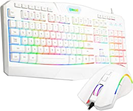 Redragon S101 Wired Gaming Keyboard and Mouse Combo, RGB Backlit 104 Keys Ergonomic Keyboard with Macro Multimedia Keys Wrist Rest and 8 Buttons Backlit Gaming Mouse for Windows PC [White Version]