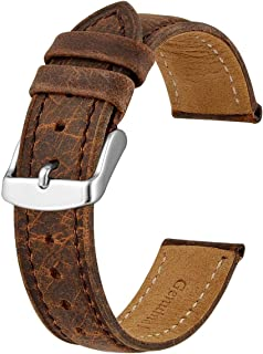 Anbeer Soft Calf Watch Strap 18mm 20mm 22mm, Classic Vintage Leather Wristband for Men and Women