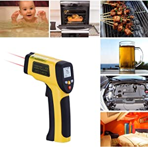 Infrared Laser Temperature Digital Surface Gun Non-contact Dual Instant-read -58 F 1022 F  -50 C 550 C  with Adjustable Emissivity amp Max Measure for Baby Living Room Food Pool Fridge