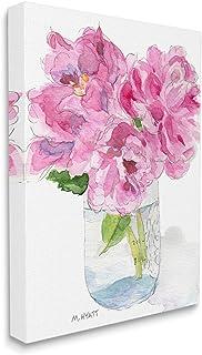 Stupell Industries Pink Peonies in Classic Canning Jar, Design by Melissa Hyatt LLC Canvas Wall Art, 16 x 20