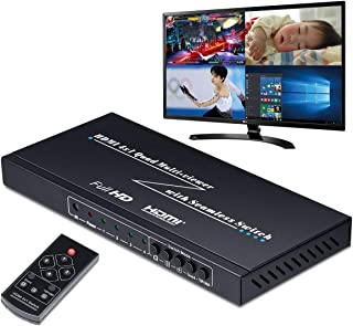 ELEVIEW HDMI画面分割切替器 マルチビューワー 4入力1出力 フルHD対応|4画面分割表示(PBP) 同時出力 全画面モード シームレス瞬時切り替え 映像がパッと表示される リモコン付き EHD-606Y