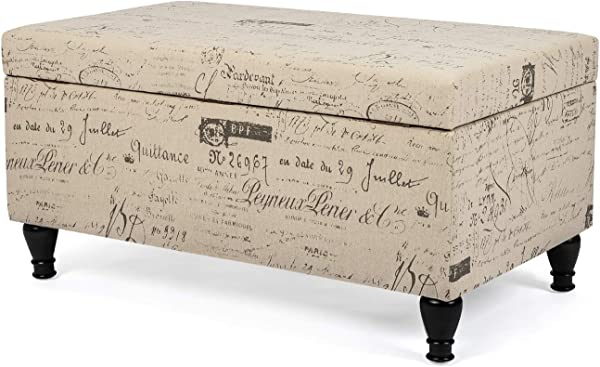Homebeez Storage Ottoman Script Fabric Long Bench Rectangular Linen Foot Rest Stool Neutral Beige