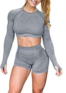YOFIT Workout Sets for Women 2 Piece Seamless High Waist Shorts with Short Sleeve Crop Top Yoga Outfits