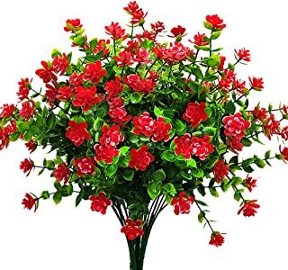 Artificial Flowers, Fake Outdoor UV Resistant Plants Faux Plastic Greenery Shrubs Indoor Outside Hanging Planter Home Kitchen Office Wedding Garden Decor (Red)