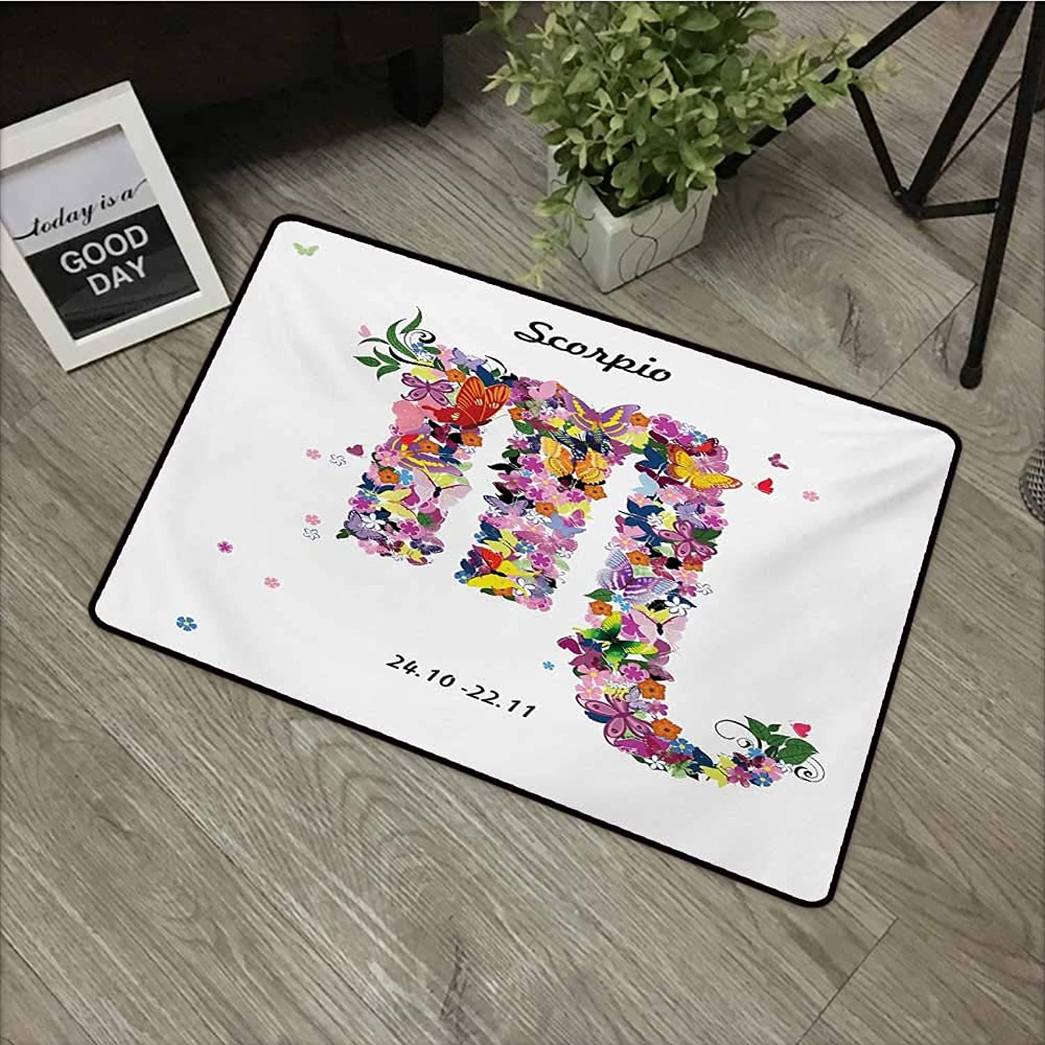 Bathroom door mat W35 x L59 INCH Zodiac Scorpio,Floral Spring Inspired Hgoldscope Sign Design with Butterflies colorful Wings,Multicolor Easy to clean, no deformation, no fading Non-slip Door Mat Carpe