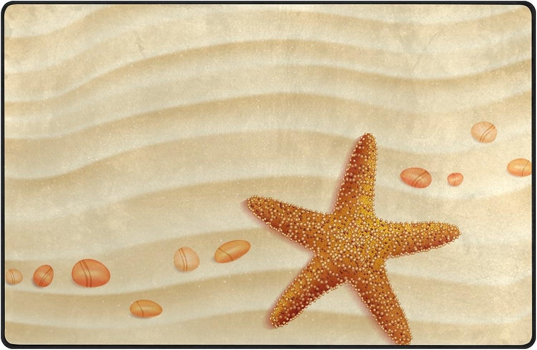 U Life Cute Ocean Sea Beach Starfish Large Doormats Area Rug Runner Floor Mat Carpet for Entrance Way Living Room Bedroom Kitchen Office 80 x 58 inch