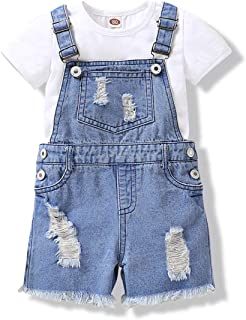 NZRVAWS Toddler Kids Girl Outfits Denim Jumpsuit Bodysuit Girls Overall Jeans Romper Baby Clothes