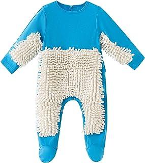 N/AA Amuse-MIUMIU Baby Langarm Mop Strampler Outfit Lustiger Baby Kleidung Wischmop wischen Boden Strampler Overall Jumpsuit zum Krabbeln Junge Mädchen 0-24 Monate