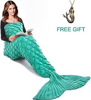 JR.WHITE Mermaid Tail Blanket for Kids and Adults, Hand Crochet Snuggle Mermaid, All Seasons Seatail Sleeping Bag Blanket (Adult-Scale-Green)