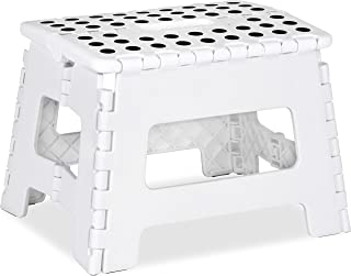 Foldable Step Stool for Kids - 11 Inches Wide and 9 Inches Tall - White and Black - Holds Up to 300 lbs - Lightweight Plastic Design