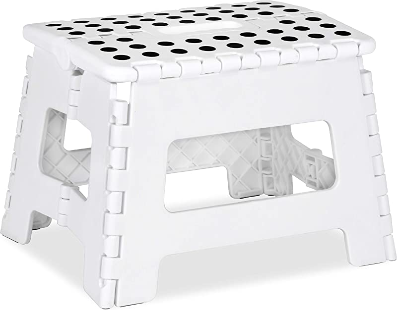 Utopia Home Foldable Step Stool For Kids 11 Inches Wide And 9 Inches Tall White And Black Holds Up To 300 Lbs Lightweight Plastic Design