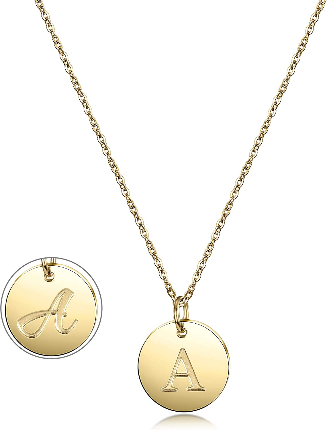 Initial Necklace, 14K Gold Plated Letter Necklace Round Disc Double Side Engraved Hammered Name Pendant Necklace with Adjustable Chain Pendant Enhancers