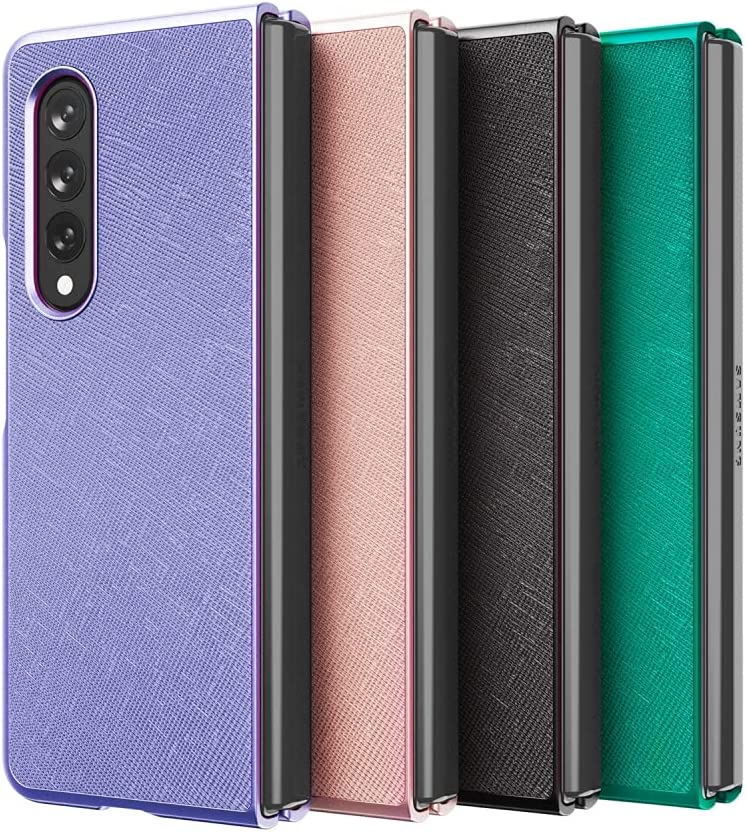 K-Max Cowhide Saffiano Leather Case Designed for Z Fold3, with Scratch Resistant Leather Lightweight and Slim Case for Z Fold3 (Violet)
