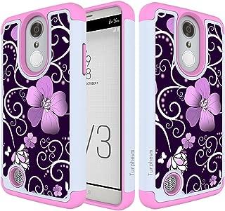 Turphevm LG Aristo Case,LG Risio 2 Case,LG Phoenix 3/ Fortune/Rebel 2 LTE/ K8 2017 Case [Drop Protection] [Shock Absorption] Dual Hybrid Defender Anti-Slip Armor Case for LG LV3(Pink Violet)