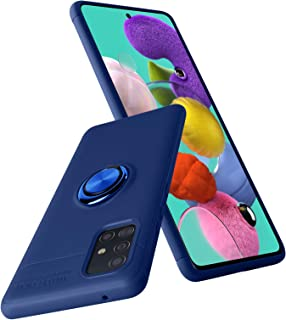 MZELQ Samsung Galaxy A51 5G Case Blue with 360 Rotating Ring Kickstand for Magnetic Car Mount Shockproof Stand Cover Soft TPU Full Body Protective Anti-Scratch Support Shell -6.5 inch