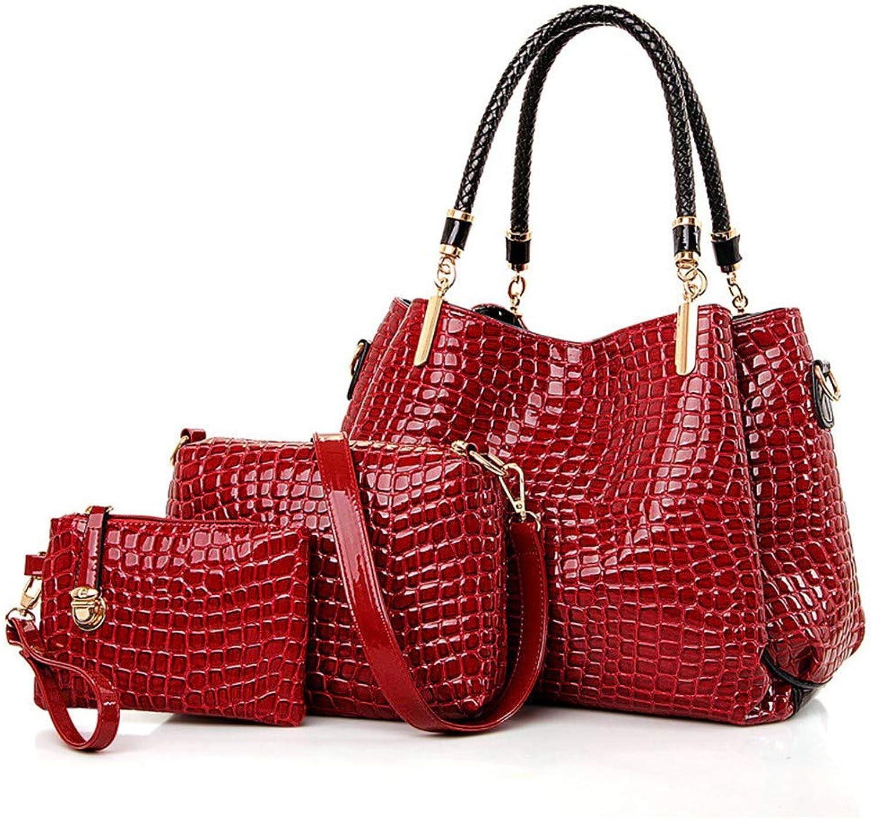 NZZNB Fashion Women's Bag Patent Leather Glossy Crocodile Large-Capacity Tote Bag Elegant Shoulder Bag Satchel Exquisite Charming Wallet 3Pcs Top-Handle Handbags