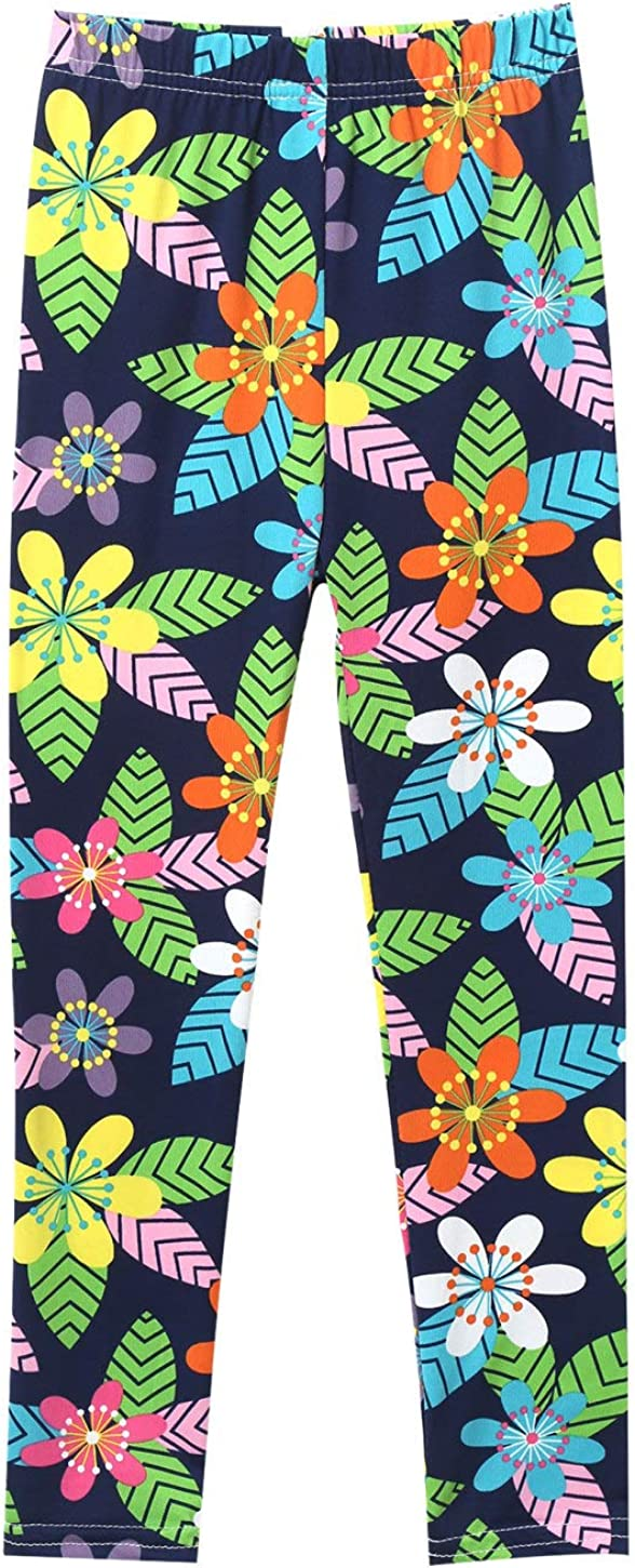 winying Kids Girls Stretchy Colorful Cartoon Pattern Classic Leggings Trousers Pants 1/2Set