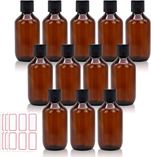 Trendbox Empty Amber Plastic Bottles with filp caps, Labels 3.3oz Refillable Container for Shampoo, Lotions, Liquid Body S...