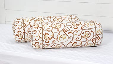 AURAVE Bail Floral 2 Pieces Cotton Bolster Covers - Mustard