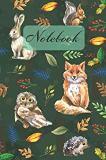 Notebook: Wild Animals - Owl Rabbit Fox Ssquirrel Hedgehog - Diary / Notes / Track / Log / Journal, Book Gifts For Women M...