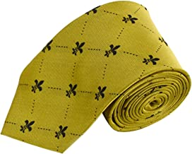 Fleur de Lis Pattern Tie For Men - Diamond Dotted French Fleur-de-Lis Symbol - Traditional Men's Neck Tie