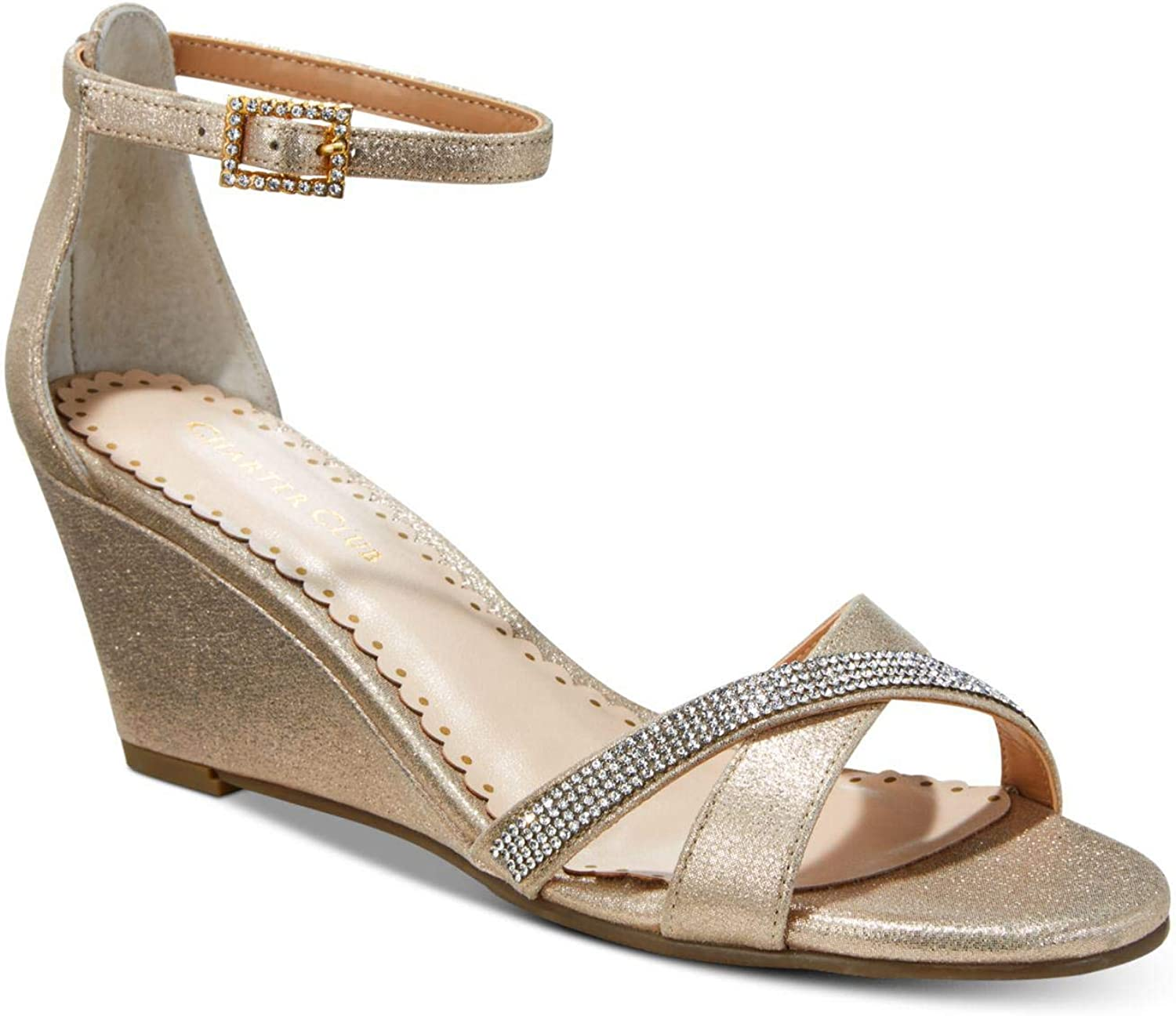 Charter Club Womens Mcalister Metallic Faux Leather Wedges