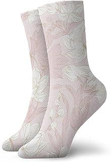 sky feng, Anime calcetines Orquídea sin costuras Patrón En Color Pastel Y Oro Súper Suave De secado Rápido Transpirable Deportes Calcetines Unisex Tripulación Calcetines 30 cm