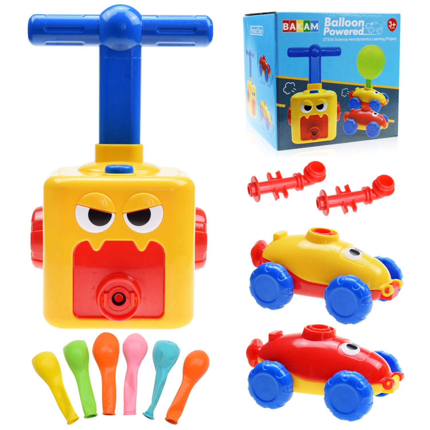 Power Balloon Car Toy for Kids, Balloon Powered Car Children's Science Toy, Inflatable STEM Balloon Pump Cars Racer Kit for Boys Girls