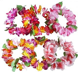 comprar comparacion Hawaiana Hawai Flores Leis Guirnalda Tropical Diadema Ruffled Flores Leis Kit Hen Noche Luau Verano Playa Hawai Fiesta Cos...