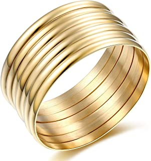 14k Gold Plated Stackable Bangle Bracelets for Women 7Pcs/Set,Womens Jewelry