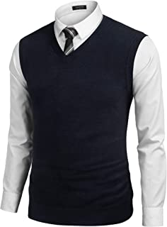 COOFANDY Men's Sleeveless Sweater Vest Lightweight V-Neck Solid Cotton Vest Pullover