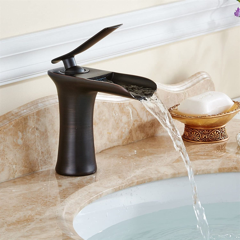 MGADERO Wasserhahn Bad Mischbatterie Messing schwarz l eingerieben Bronze schwarz l eingerieben Bronze Wasserfall Waschtisch Armatur für Badzimmer Waschbecken