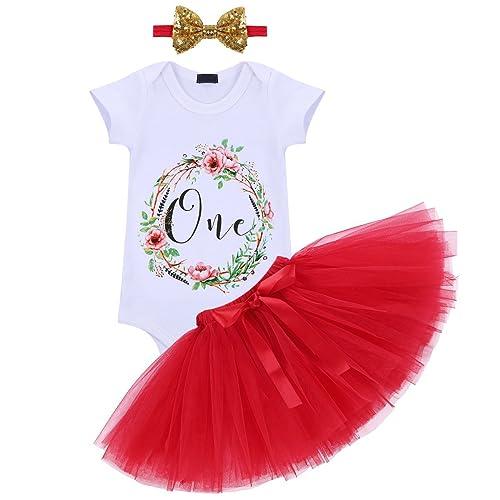 0a42bd43839e Baby Girl It s My 1st Birthday 3Pcs Outfits Skirt Set Romper+Tutu  Dress+Headband