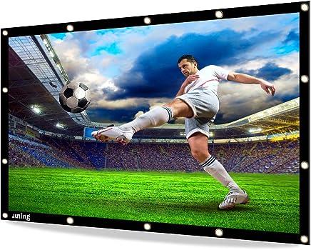 JUNING Pantalla de proyector, Pantalla de Cine portátil al Aire Libre 120 '' 16: 9 HD 3D Plegable para Cine en casa Cine Interior Exterior y Delantera de proyección Simple PVC