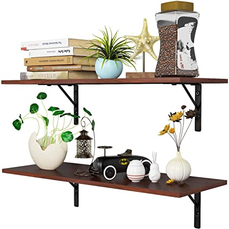Homfa Floating Shelves Wall-Mounted Display Storage Ledge with Bracket for Bathroom, Kitchen, Living Room, Large 31.5X 11.6X 7.3in (Espresso)