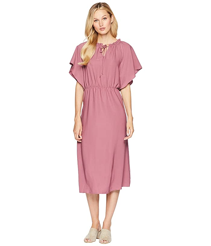 American Rose Justice Front Tie Midi Dress (Mauve) Women