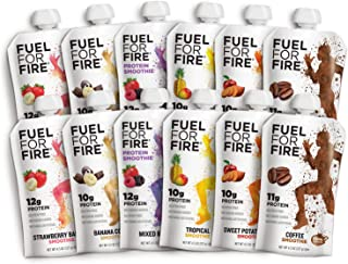 Fuel For Fire - Variety Pack with All 6 Flavors (12 Pack) Including New Mixed Berry! Fruit & Protein Smoothie Squeeze Pouch | Gluten-Free, Soy-Free, Kosher (4.5 ounce pouches)