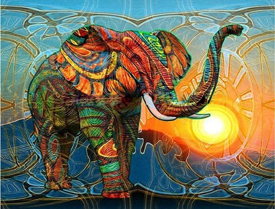 Full Diamond 5D DIY Diamond Painting Colorful Elephant Embroidery Cross Stitch Rhinestone Mosaic Painting Decor Gift (11.8'in.×11.8'in)
